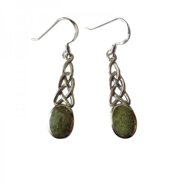Silver Celtic Earrings with Connemara Marble