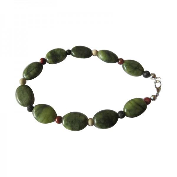 Irish Connemara Marble Bracelet - Oval Beads 4 Province Spacers