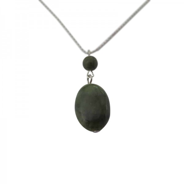 Connemara Marble Oval Bead Pendant with Silver Chain