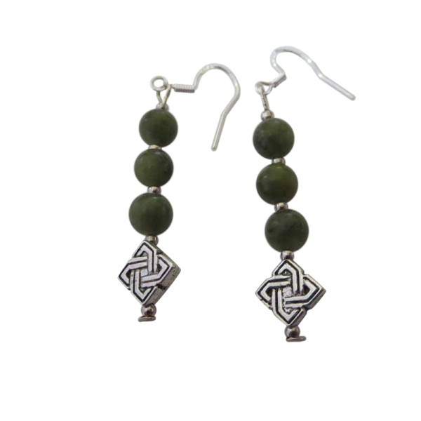 Connemara Marble 3 Bead Celtic Earrings with Silver Earwires Occasions