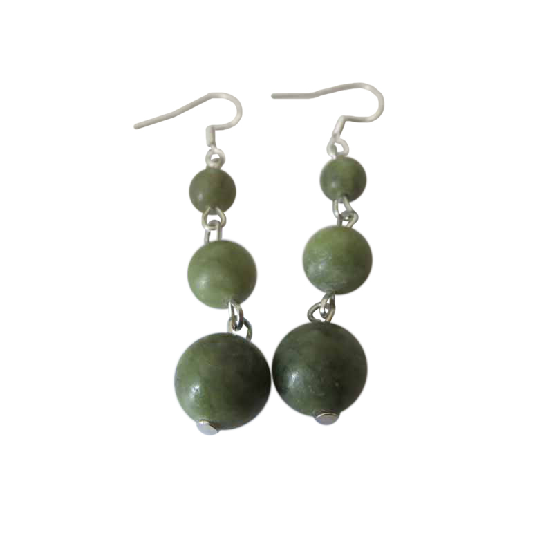 Connemara Marble 3 Bead Earrings With Silver Earwires Occasions