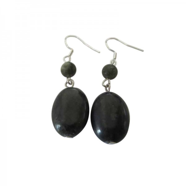 Connemara Marble Oval Bead Earrings with Silver Earwires