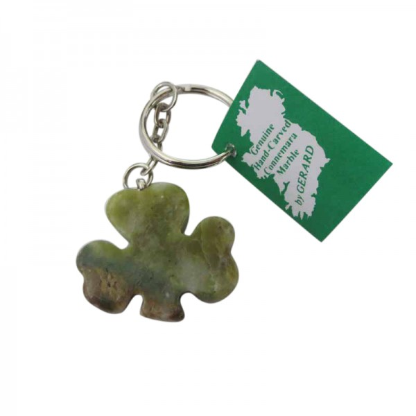 Connemara Marble Keychain - Shamrock Symbol