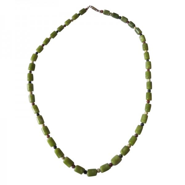 Irish Connemara Marble Necklace - Barrel Beads with 4 Province Spacers Irish Birthday Gifts