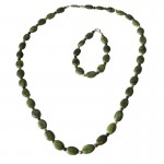 Irish Connemara Marble Necklace - Oval Beads with 4 Province Spacers Irish Birthday Gifts