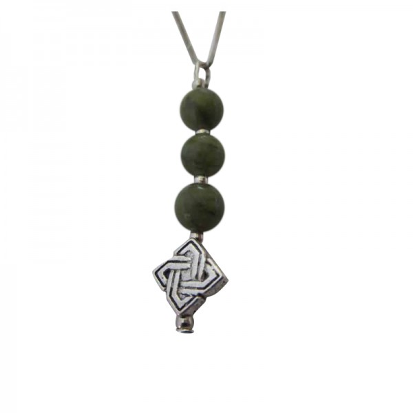 Connemara Marble 3 Bead Celtic Pendant with Silver Chain