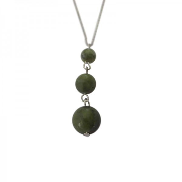 Connemara Marble 3 Bead Pendant with Silver Chain