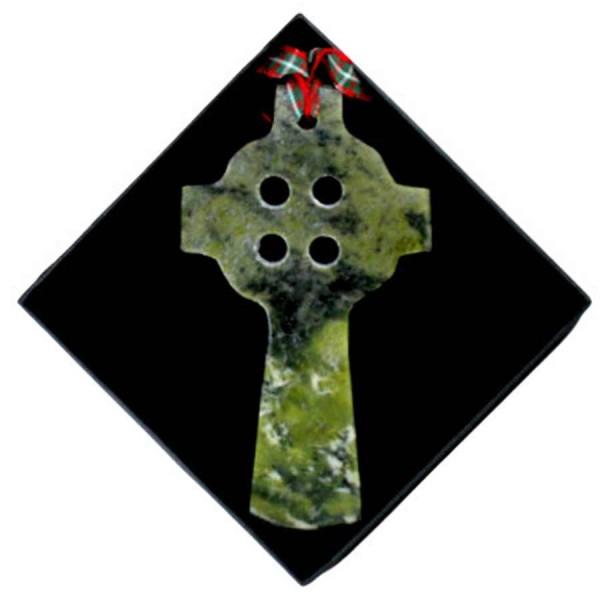 Connemara Marble Christmas Ornament - Celtic Cross
