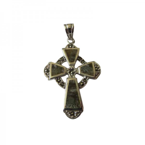 Silver Celtic Cross with Connemara Marble and Marcasite