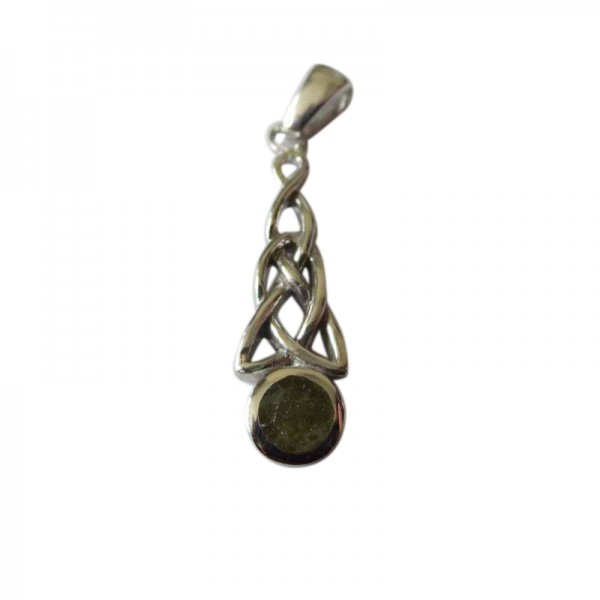 Silver Celtic Pendant with Connemara Marble