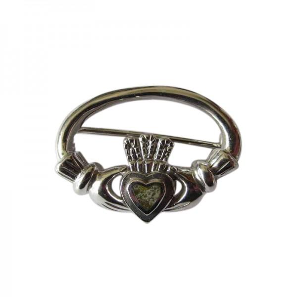 Silver Claddagh Brooch with Connemara Marble