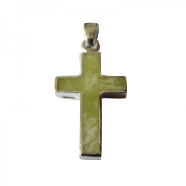Silver Cross with Connemara Marble Inlay - 25mm x 15mm