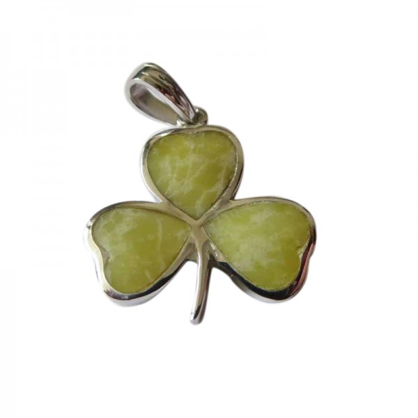 Silver Shamrock Large Pendant with Connemara Marble Occasions
