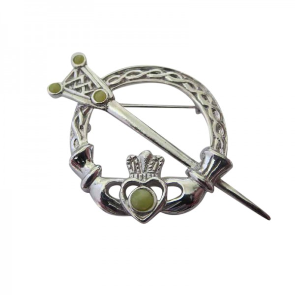 Silver Tara Brooch with Connemara Marble Occasions