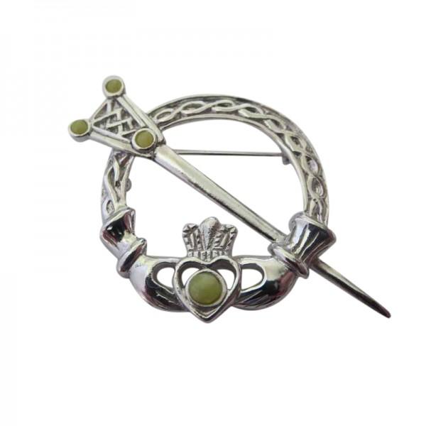 Silver Tara Brooch with Connemara Marble