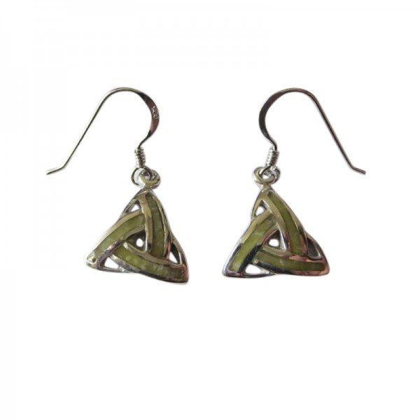 Silver Trinity Earrings with Connemara Marble