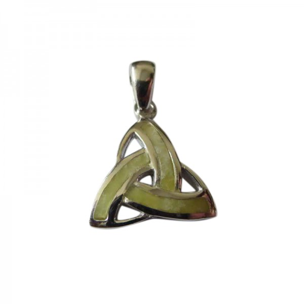 Silver Trinity Knot Pendant with Connemara Marble