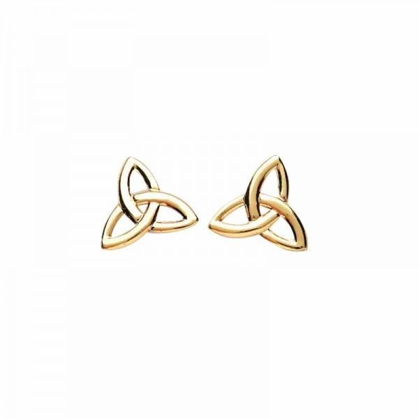 Irish Gold Celtic Trinity Knot Stud Earrings - Small