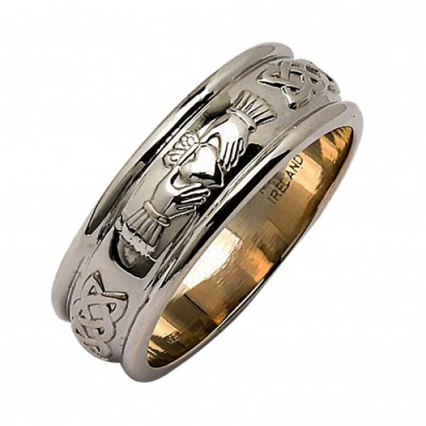 Corrib Claddagh Wide Band Wedding Ring - Sterling Silver