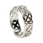 Irish Silver Celtic Knot Ring - Wide Band
