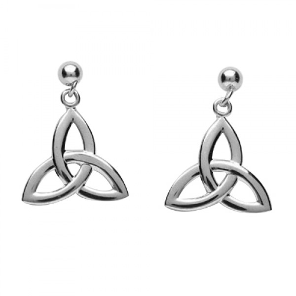 Trinity Knot Drop Earrings - Silver - Size Large