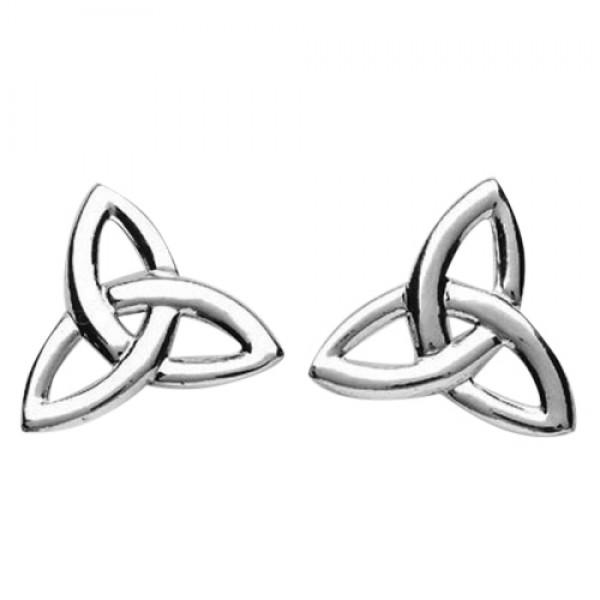 Irish Silver Trinity Knot Stud Earrings - Large