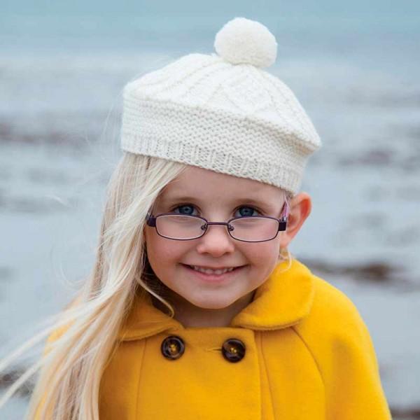 Irish Aran Child's Beret Hat - One Size