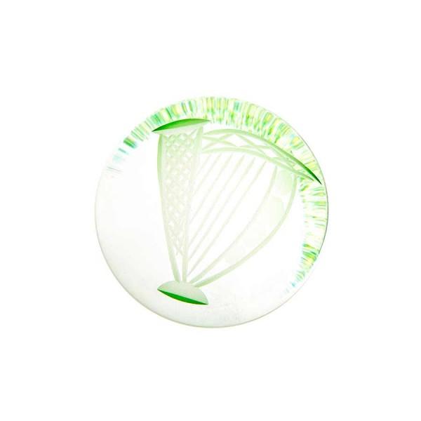 Irish Handmade Glass - Hand Cooler Paperweight - Harp