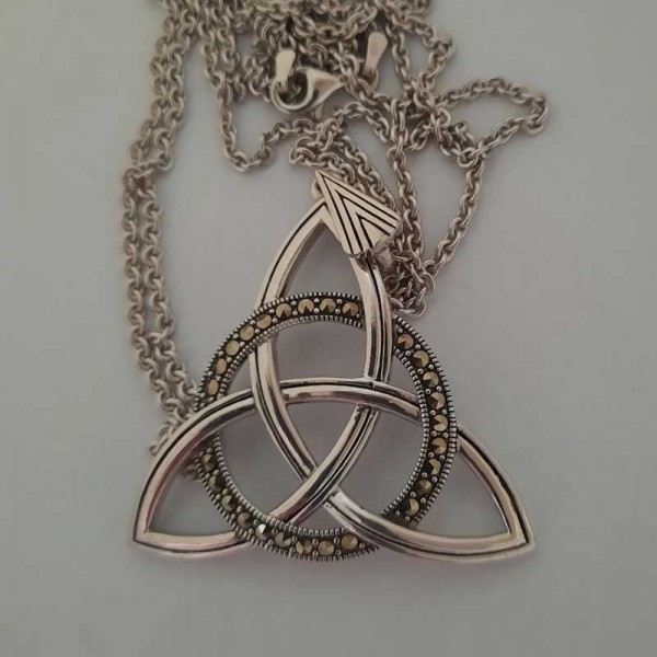 Silver Trinity Knot Pendant with Marcasite - Extra Large Size