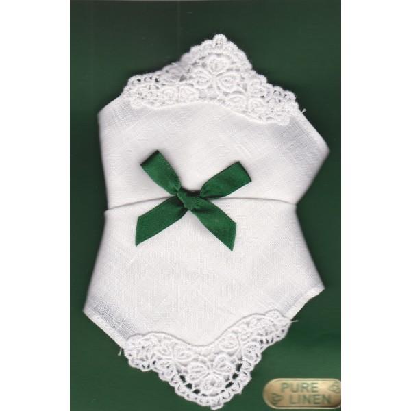 Irish Linen Womans Handkerchief - Crochet Detail - 2 Pack