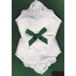 Irish Linen Womans Handkerchief - Embroidered Shamrock - 2 Pack