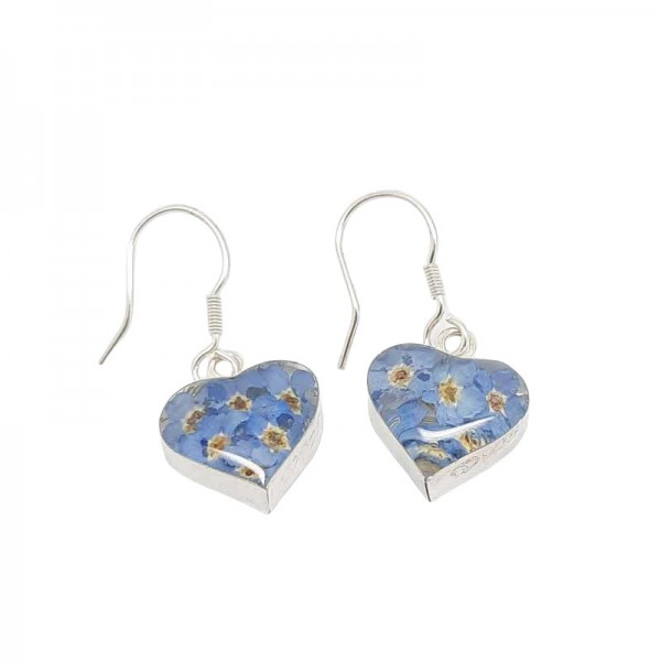 Real Flower Silver Earrings - Forget-Me-Nots - Hearts