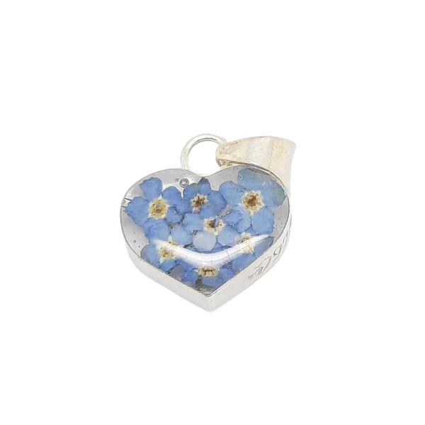 Real Flower Silver Pendant - Forget-Me-Nots - Heart