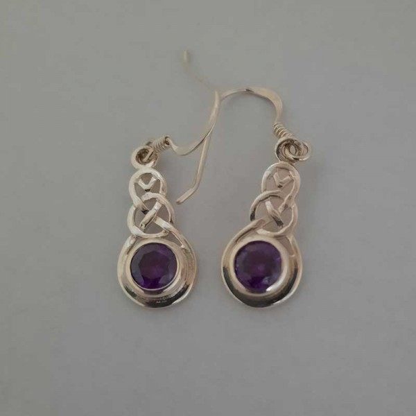 Silver Celtic Knot Pendant with Amethyst CZ Stone