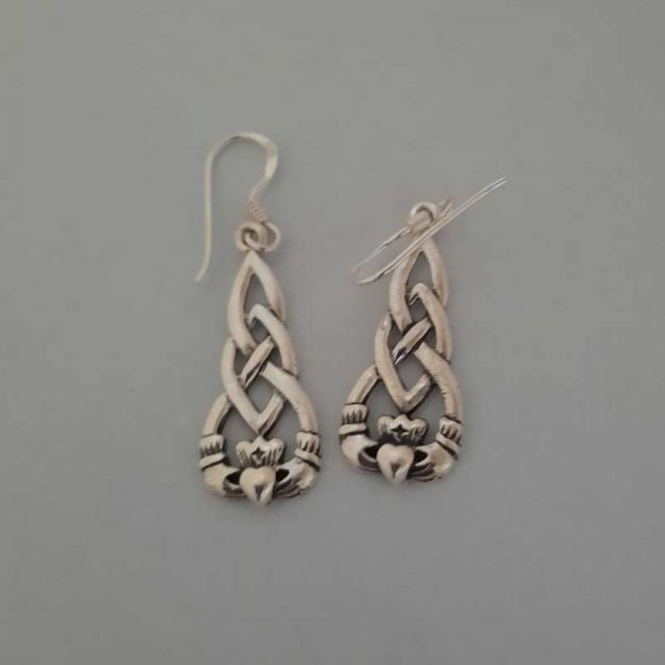 Sterling Silver Claddagh Drop Earrings with Celtic Knots - Size Medium