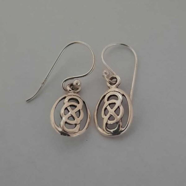 Silver Celtic Knot Drop Earrings - Oval