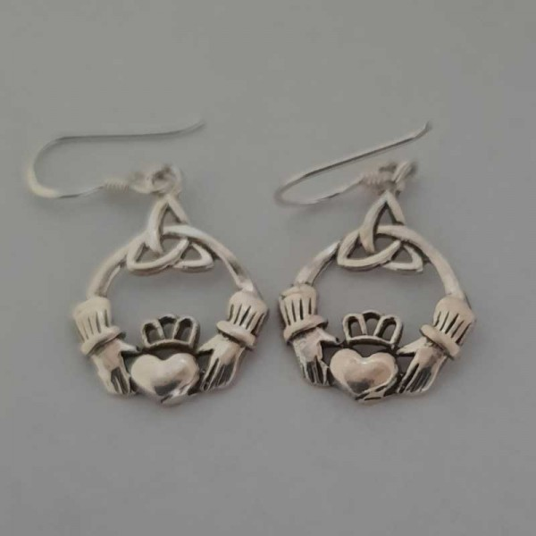 Silver Claddagh Drop Earrings  with Trinity Knot - Size Medium
