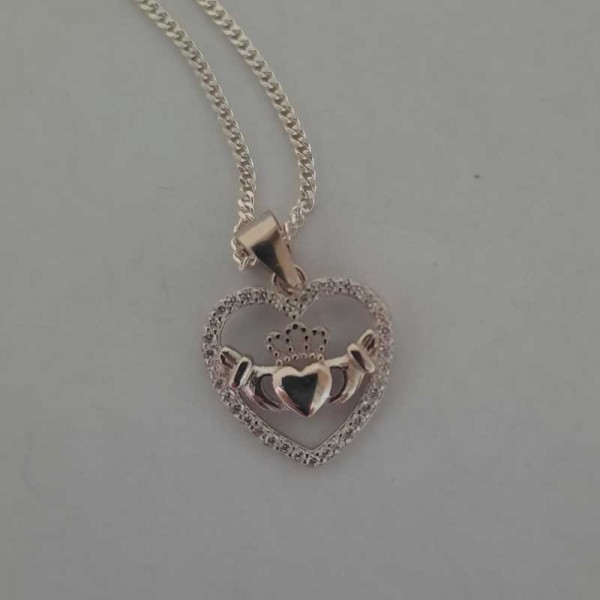 Silver Claddagh Heart Shaped Pendant