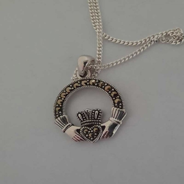 Silver Claddagh Pendant  with Marcasite