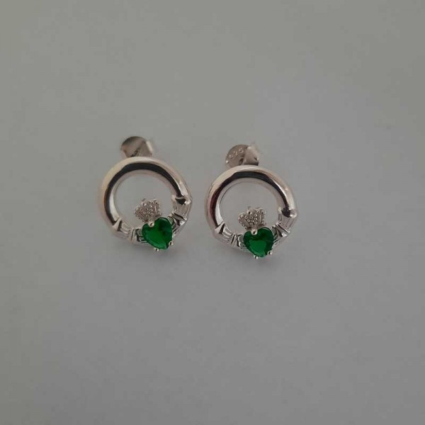 Silver Claddagh Stud Earrings with Emerald CZ Stone