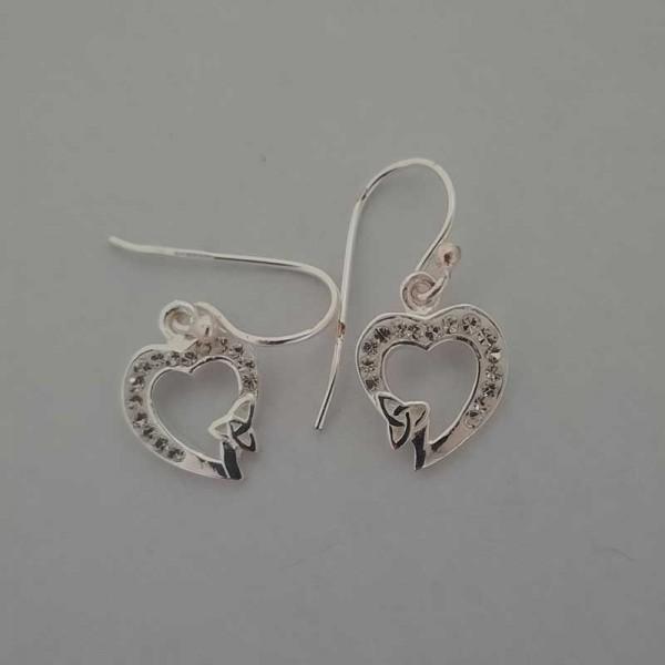 Silver Heart Shape Drop Earrings  with Trinity Knot