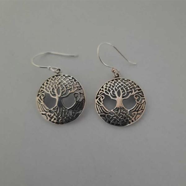 Silver Tree of Life Drop Earrings - Large