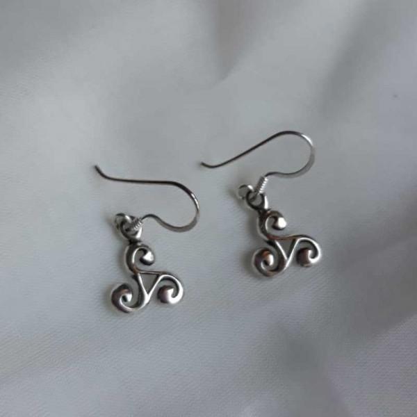 Silver Celtic Triskele Drop Earrings - Small