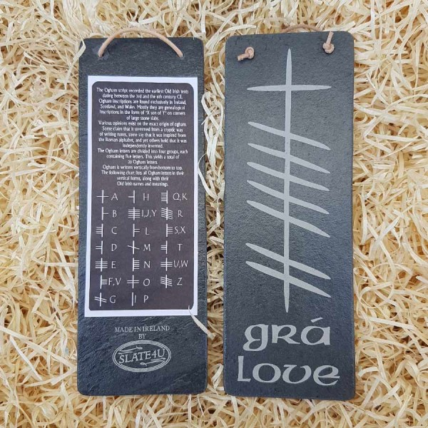 Irish Slate Hanging Plaque - Gra - Irish for Love