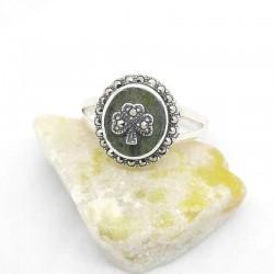 Irish Silver Ring with Connemara Marble Shamrock