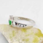 Irish Silver Cladddagh Ring with Green CZ Heart