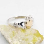 Irish Silver Claddagh Ring with 10K Gold Heart