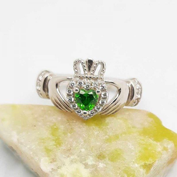 Irish Silver Claddagh Ring with Green and White CZ