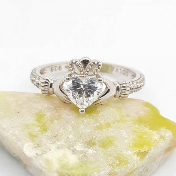 Irish Silver Cladddagh Ring with White Crystal CZ Heart