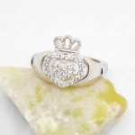 Irish Silver Claddagh Ring with White CZ Stones